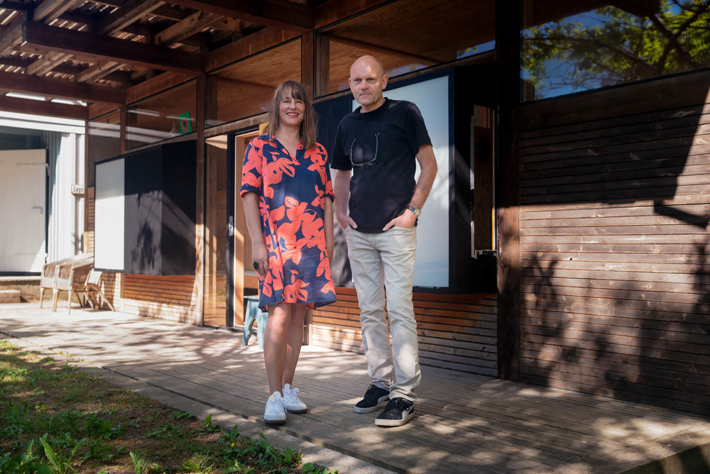 Director in charge,  Charlotte Thiis-Evensen , together with architect,  Carl-Viggo Hølmebakk .