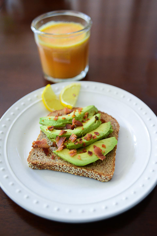 Morning rituals - fresh juice and avocado toast on Ezekiel bread. Sunday bacon for the win.