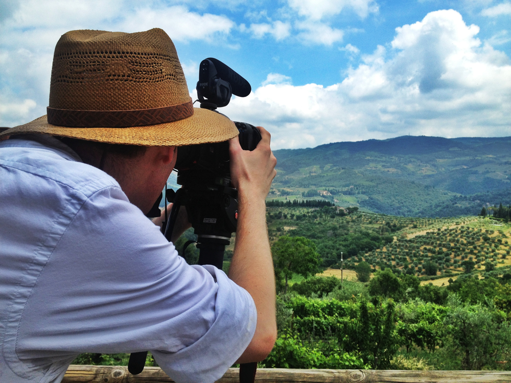 Filming in Tuscany, Italy