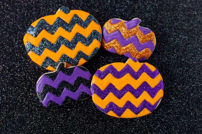 Glitter Chevron Pumpkin Cookies