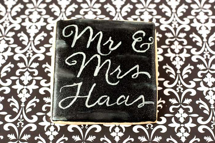 Chalkboard Wedding Cookie