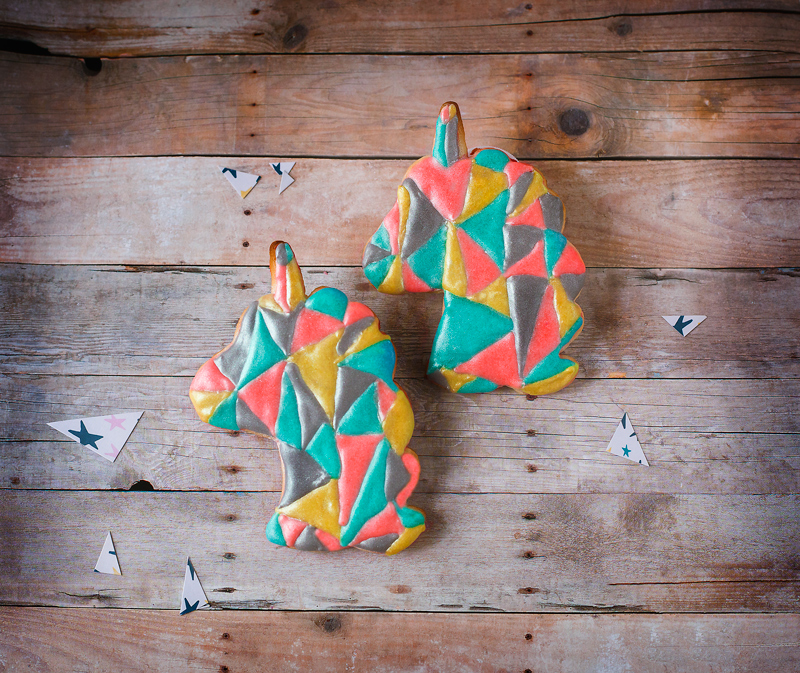 © Geometric Unicorn Head Cookies