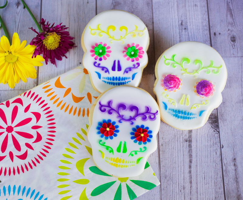 © Stenciled Sugar Skull Cookies