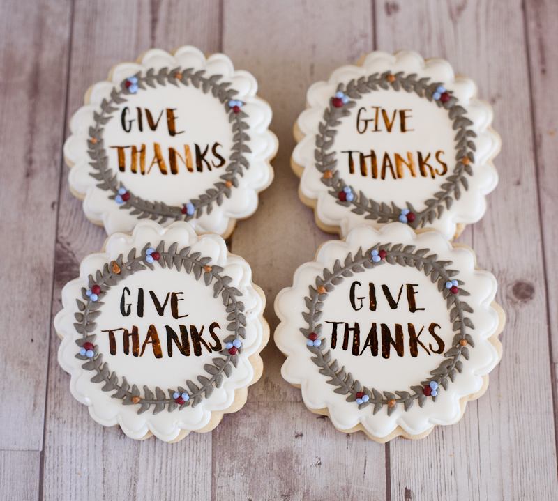 © Give Thanks Wreath Cookies