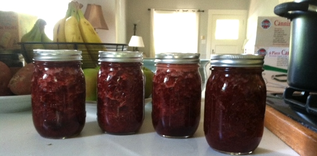 Successfully filled and sealed pints of Strawberry Jam