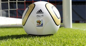 The unique gold-coloured adidas JO'BULANI version of the adidas JABULANI, the Official Match Ball of the 2010 FIFA World Cup