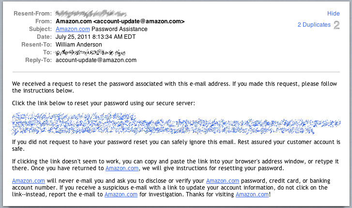 Not My Amazon.com Account - Change Password Request