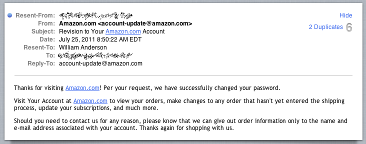 Not My Amazon.com Account Changed Password