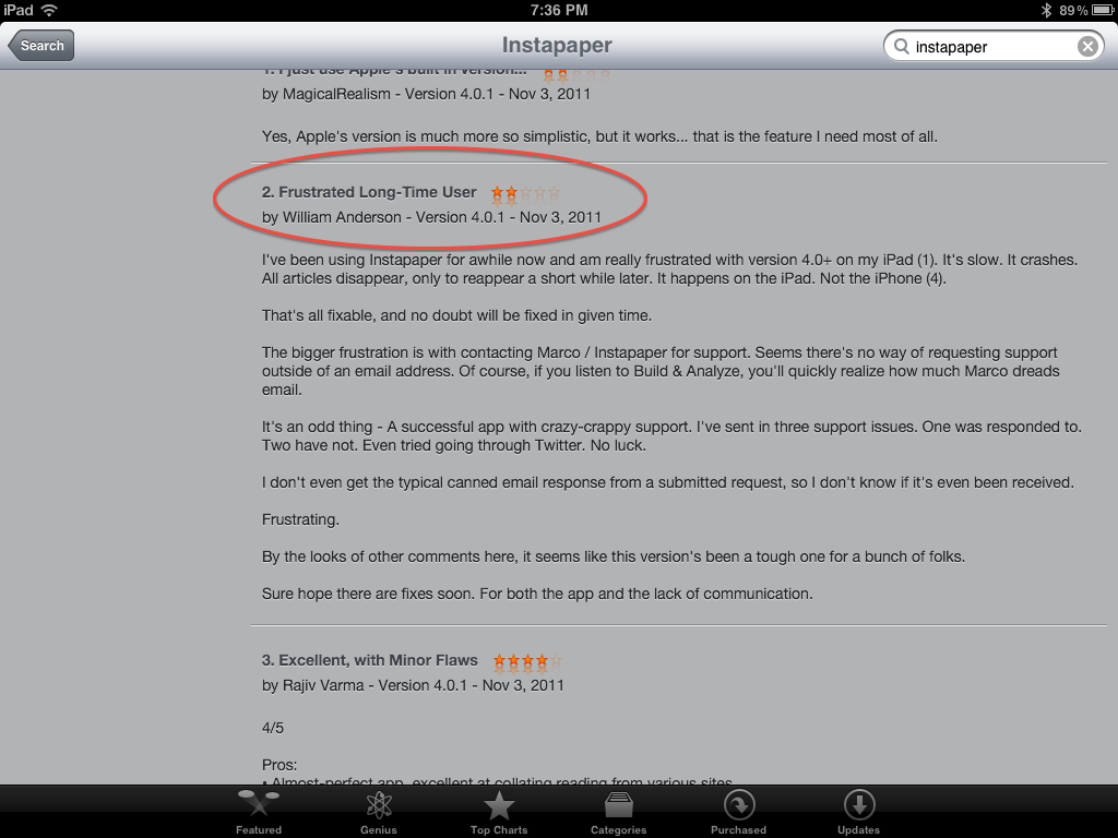Instapaper Review - iTunes