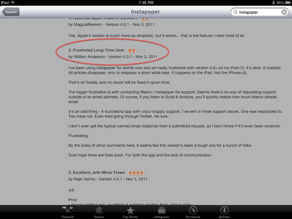 Instapaper Review - iTunes