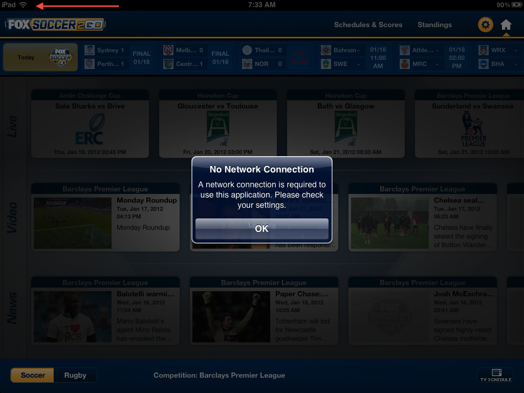 FOX Soccer 2Go for iPad for iPad: No Network?