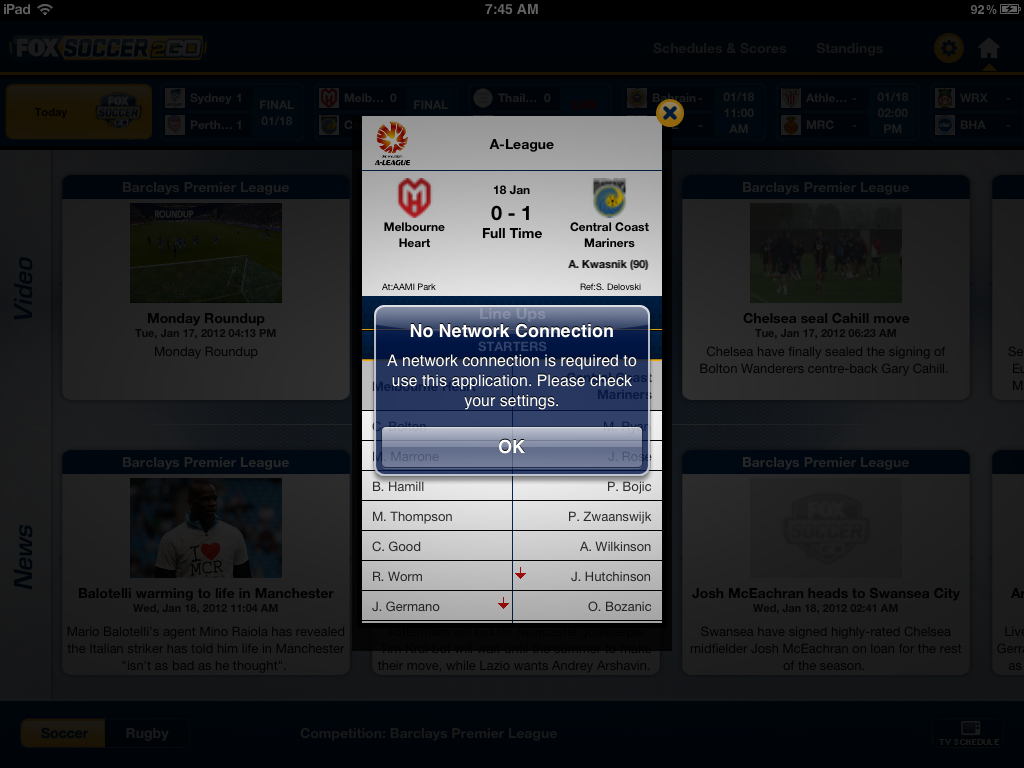 FOX Soccer 2Go for iPad for iPad: Now Available?