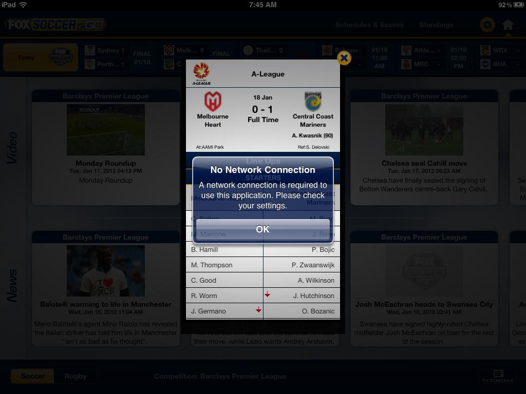 FOX Soccer 2Go for iPad for iPad: Now Available?