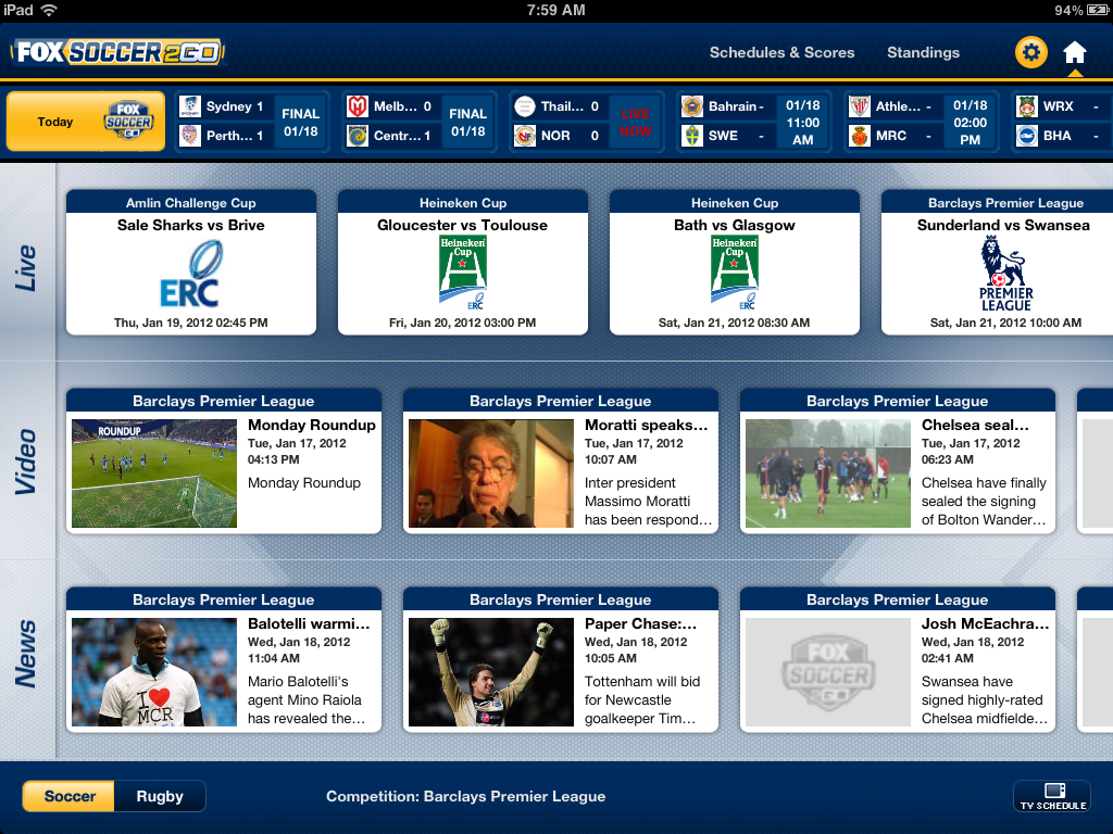 FOX Soccer 2Go for iPad for iPad: Home Screen