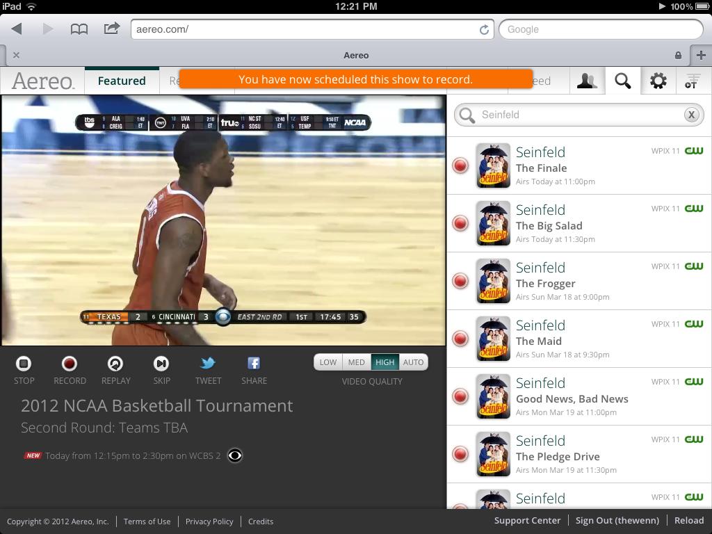 Aereo on the iPad
