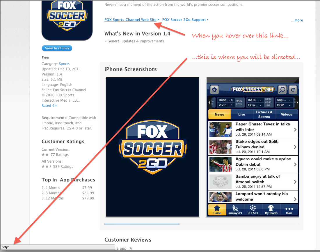 Fox Soccer Sports Channel Web Site Link No Worky