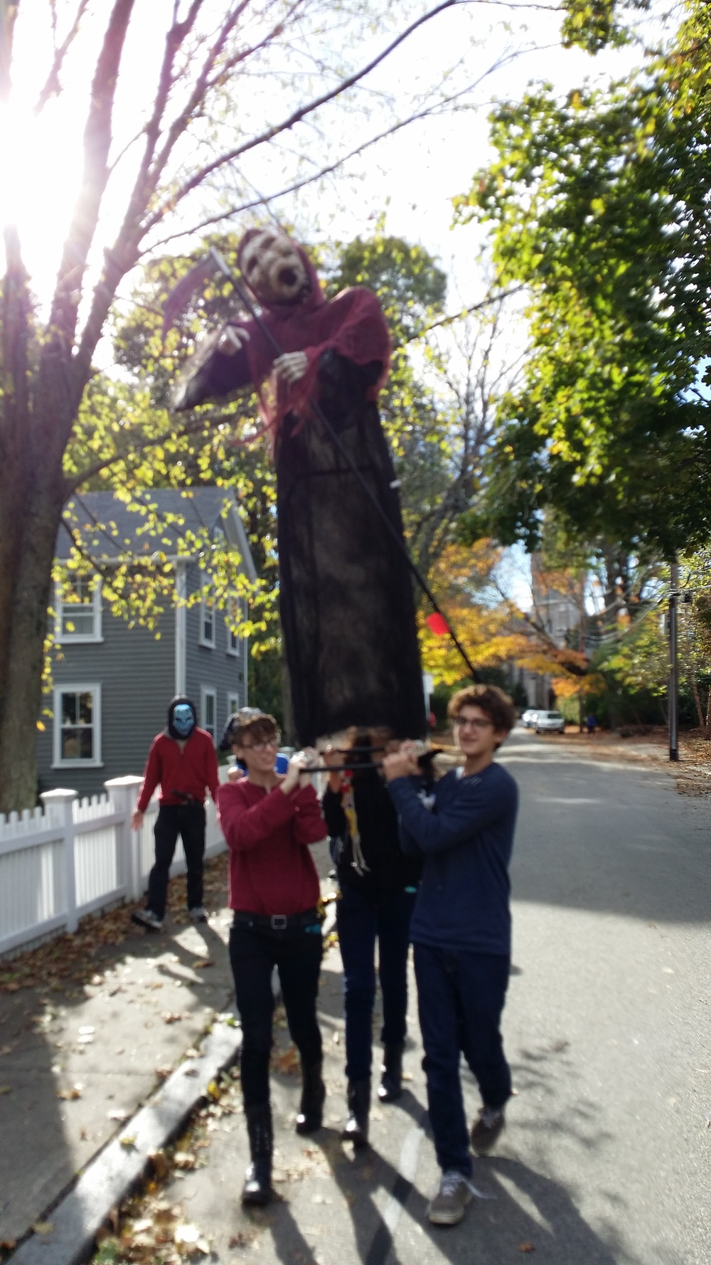 We started by processing our Halloween mascot Ily, through the streets of Dedham to Town Hall.