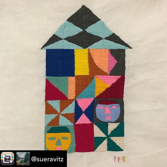 Repost from @sueravitz . If you're in New York head to 57W57Arts I have a batch of embroideries up... go see.