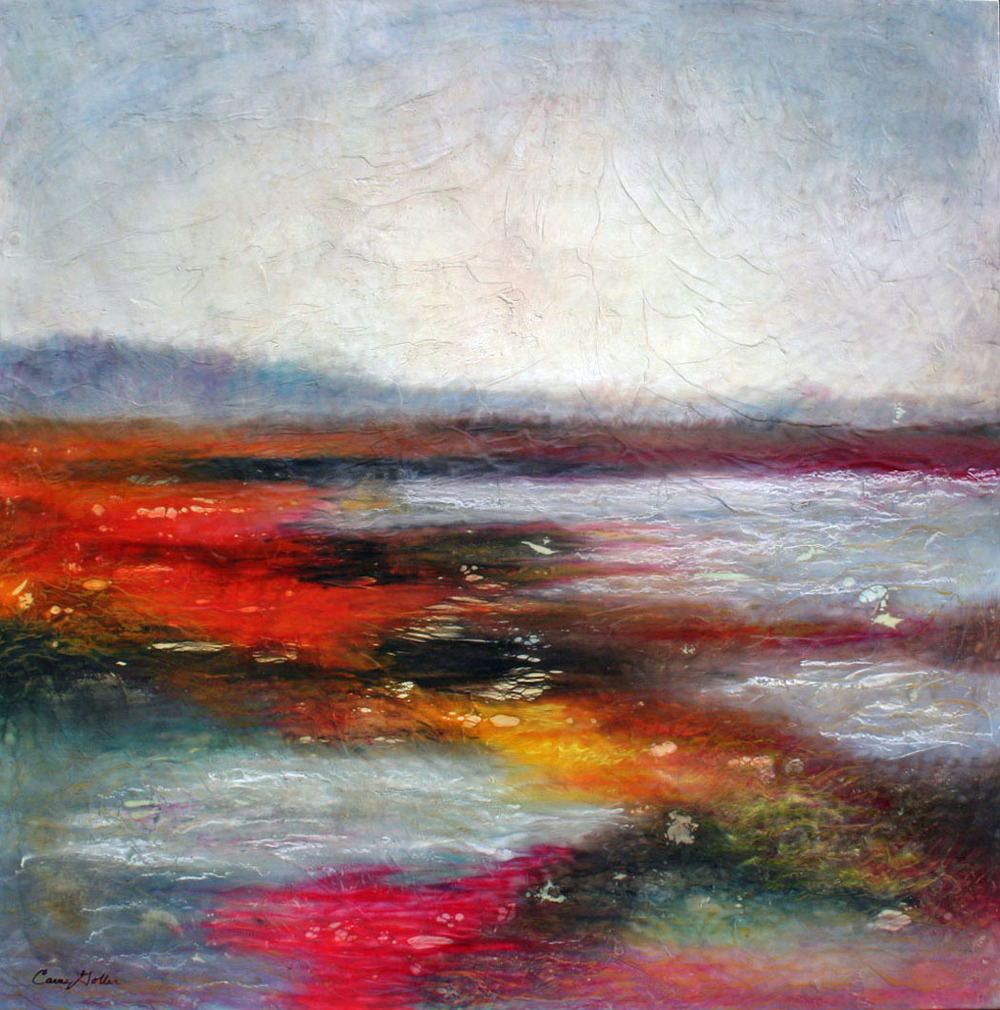 Hood Canal, encaustic-mixed media, 48x48in