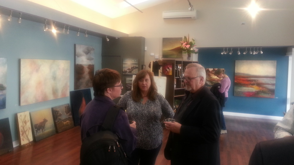 Left to right: Annie LaValle (North Kitsap Herald Marketing Rep),  artists Carrie Goller, and Max Hayslette