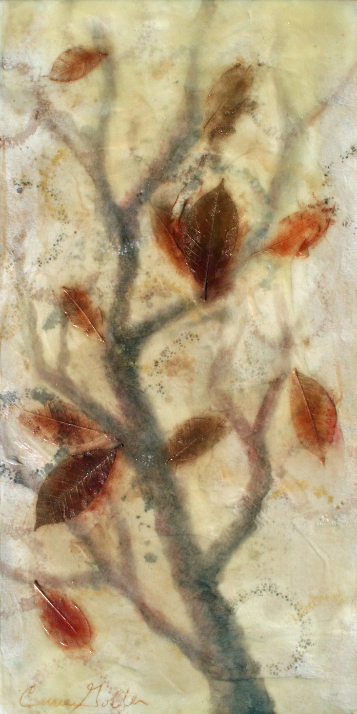 Carrie Goller -  Falling V, encaustic-mixed media, 12x24in