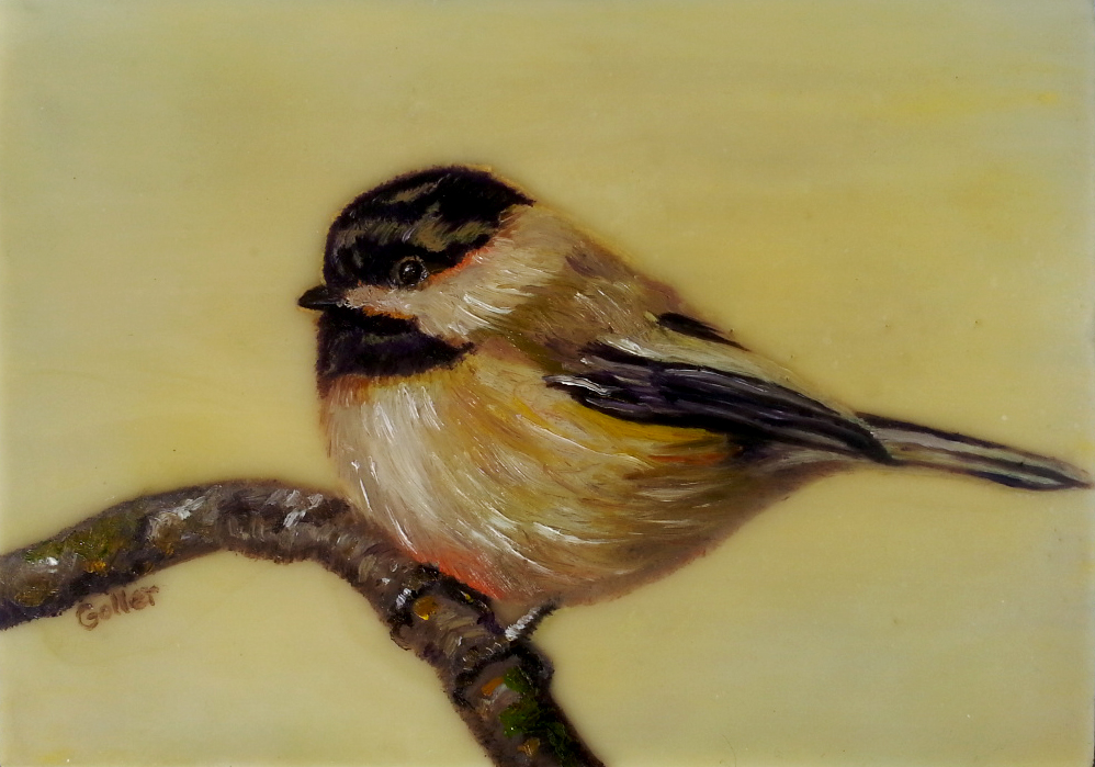 Chickadee II,   oil/encaustic on wood block 5x7 (Bainbridge Island Museum of Art Gallery Gift Store)