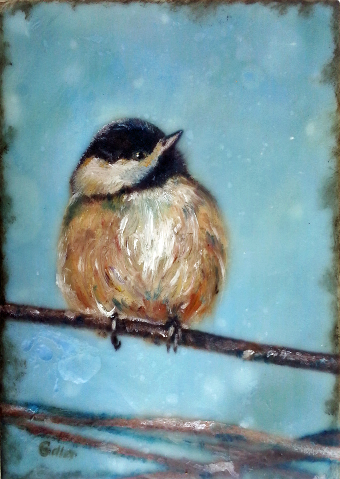 Chickadee in Winter,   oil/encaustic on wood block 5x7 (Bainbridge Island Museum of Art Gallery Gift Store)