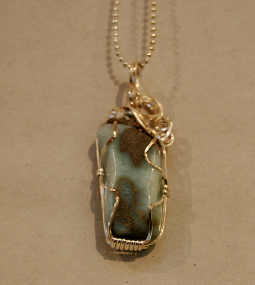 Sold charles goller larimar wire wrapped crystalgemstone pendant sold charles goller larimar wire wrapped crystalgemstone pendant necklace with 30 petite ball chain aloadofball Gallery