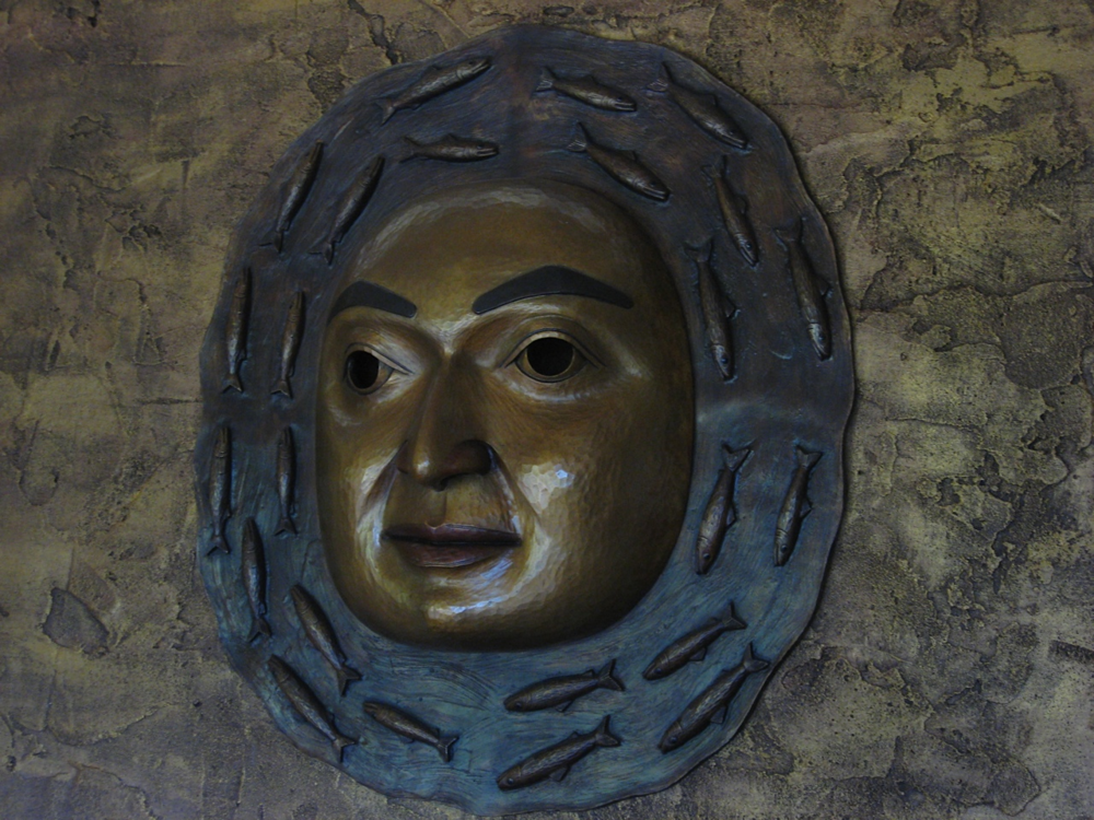 Moon Mask, bronze 28xx26wx8d by James Bender