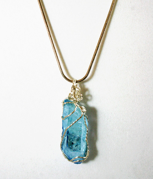 Sold aqua aura quartz charles goller sterling silver wire sold aqua aura quartz charles goller sterling silver wire wrapped crystalgemstone pendant necklace with sterling snake chain aloadofball Image collections