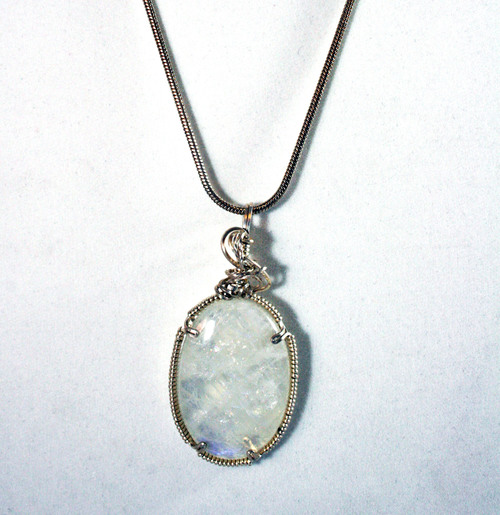 Sold moonstone charles goller sterling silver wire wrapped sold moonstone charles goller sterling silver wire wrapped crystalgemstone pendant necklace with sterling snake chain aloadofball Gallery