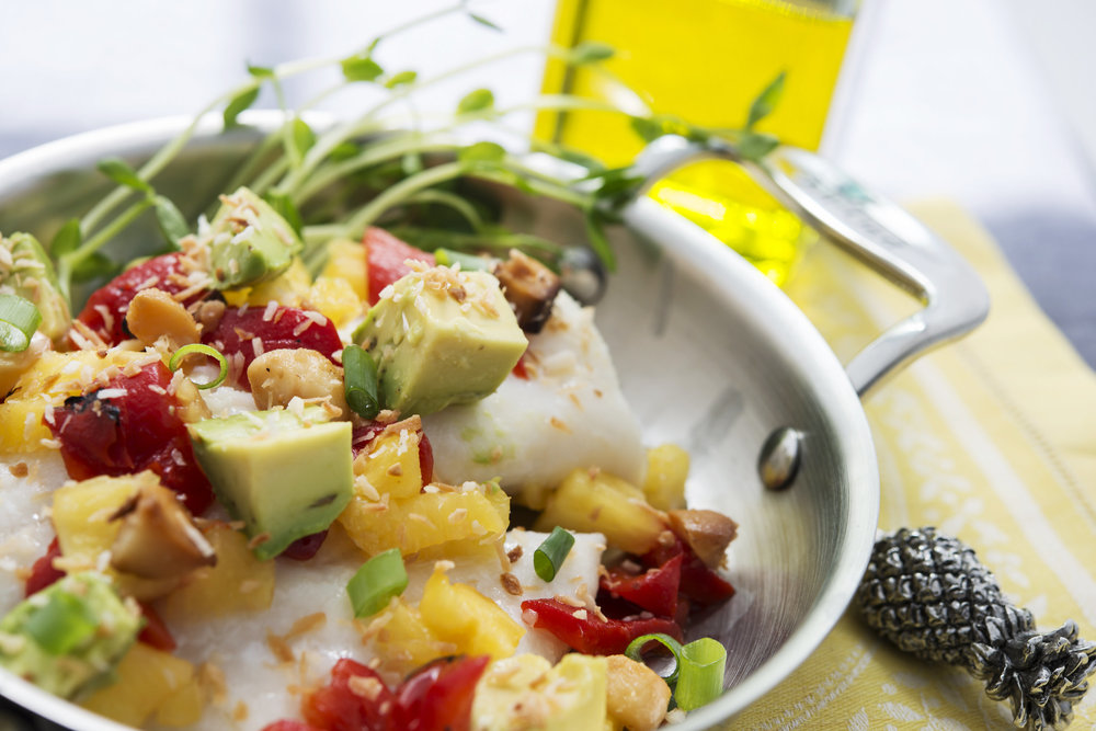 Baked cod with  toasted coconut and         pineapple salsa