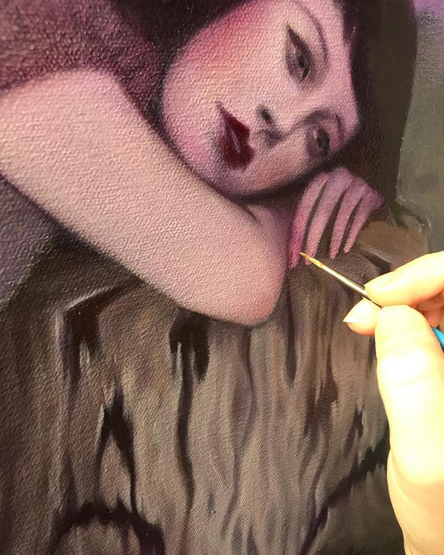 Rainy day wip for my new show at @havengallery in April 🌲 . . . .  #sydbee #sydbeeart #workinprogress #DearIllusions #soloshow #havengallery #spring2019 #originalpainting #oilpainting #wip #beautifulbizarre  #artistsoninstagram #instaart #art