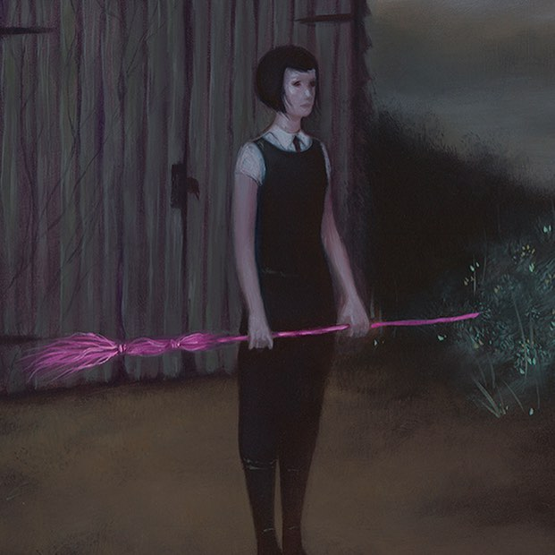 """Holding Tender Ground"" - one of my favorite lil witches and she's available as a print! Link in profile 🖤 . . . #sydbee #sydbeeart #oilpainting #landscape #pink #witch #vvitch #printsale"