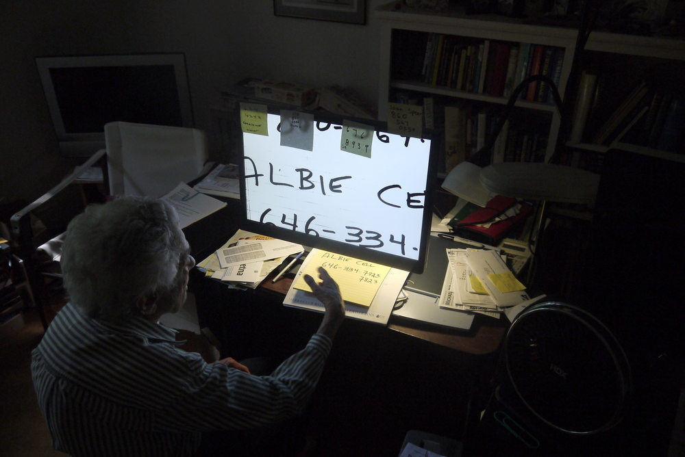 This is my landlord's mother Leah, pronounced Lee. She has a computer in her downstairs office that helps her read by magnifying whatever she puts in the light underneath.