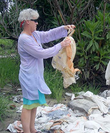 Cathy Romeyn at a rubbish dump on Kiritimati Island