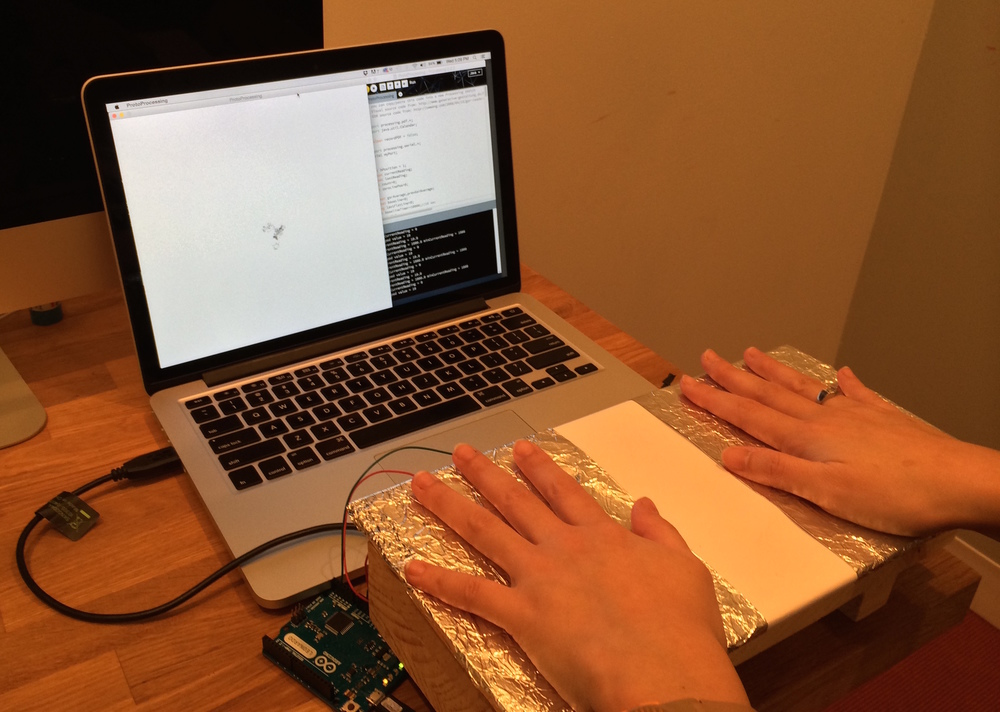 Measuring moisture in a users palms using my galvanic sensor and Processing