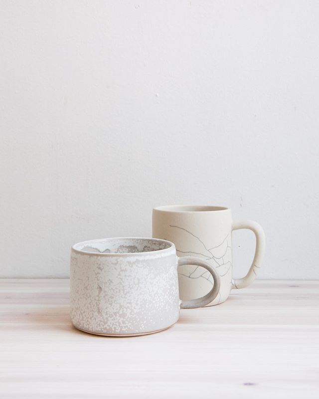 This Valentine's Day I've partnered with my valentine - the very talented potter and owner of @luvhaus ceramics to create this special edition collaboration.  We've swapped signature glazed for this limited run of mugs. His speckled matte Moon glaze on our low Earthen mug, and our Landscape crackle on his classic Luvhaus mug. - Made for slow mornings with the ones you love.