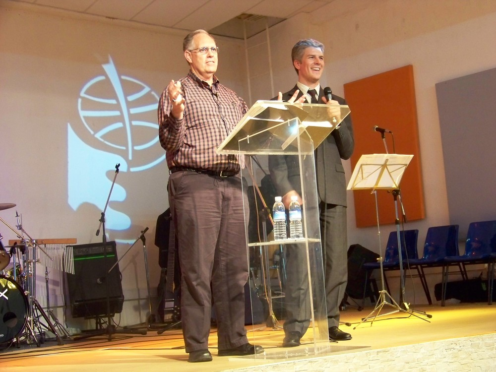 Lisbon, Portugal - Dick preaching, Seth interpreting