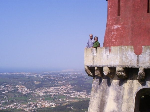 Donna with her husband, Dick, at the Sintra Castle at the small village of Sintra, Portugal, just outside of Lisbon.