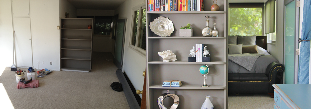 This is a great example of making the most out of what is already there! I simply used the gray shelves, and the gray modern door as my guideline to designing and creating a cohesive style. I pulled chromes, silvers, more grays and pops of color to make it inviting!