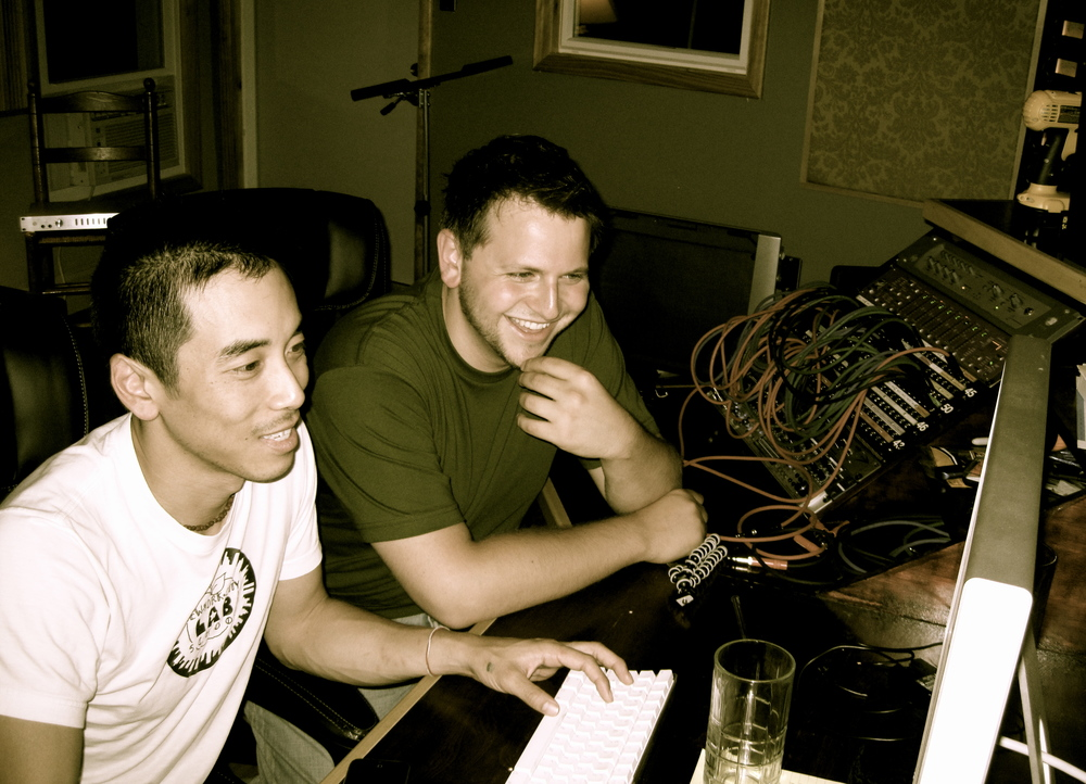 With Alex Wong during 'Snow Globe' session at The Belfry, Cardiff, NY