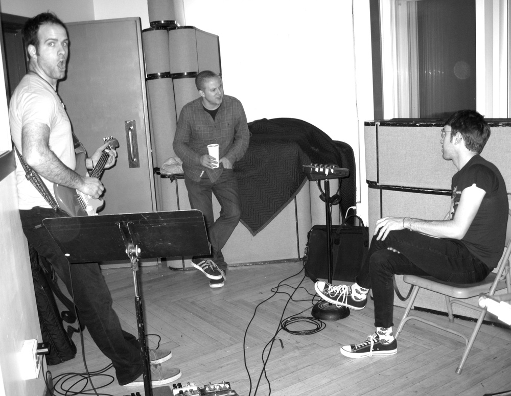 Greg Mayo, Oli Rockberger and Zach Jones during 'Anticipate' session at Dubway Studios, NYC