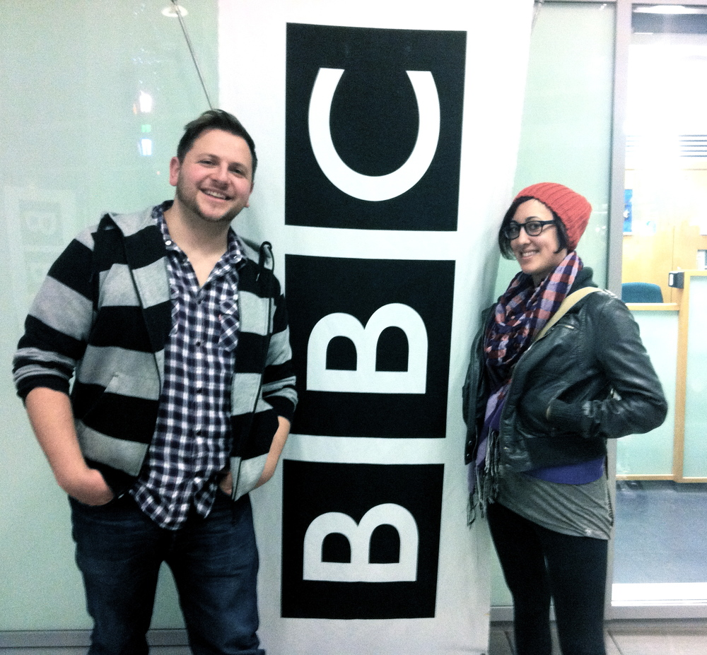With Bess Rogers at BBC Merseyside, Liverpool, UK