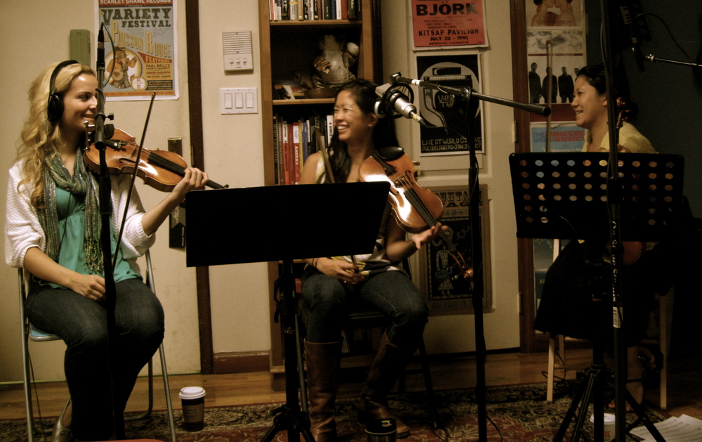 Christiana Liberis, Melissa Tong and Esther Noh during 'Snow Globe' session at Angelhouse East, Brooklyn, NY
