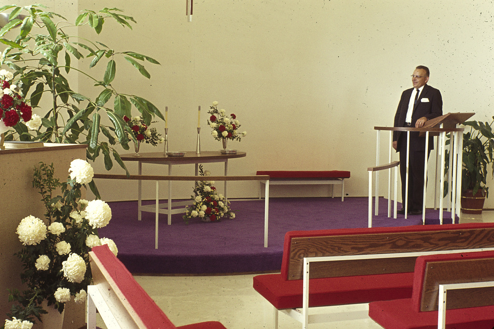 Pastor Baumann dedicates the sanctuary (1964)