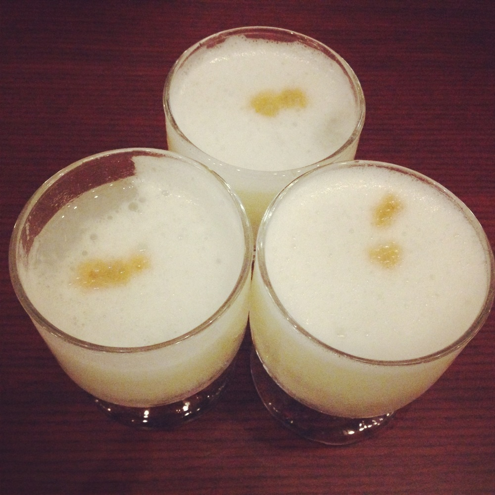 Pisco sours for three