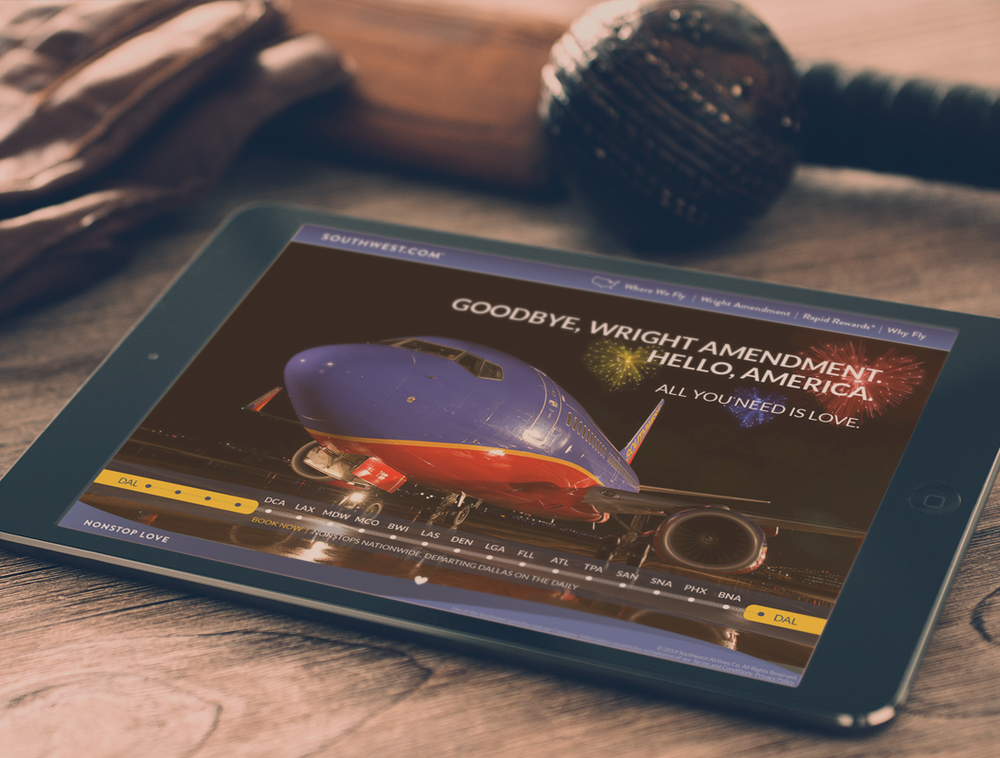 SOUTHWEST AIRLINES MICROSITE    A microsite for an airline leader to announce a new airport hub.