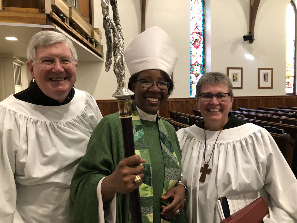 Bill McInerney, Bishop Jennifer Baskerville-Burrows, and Olynn at St. John's on Sunday, October 7th, 2018.