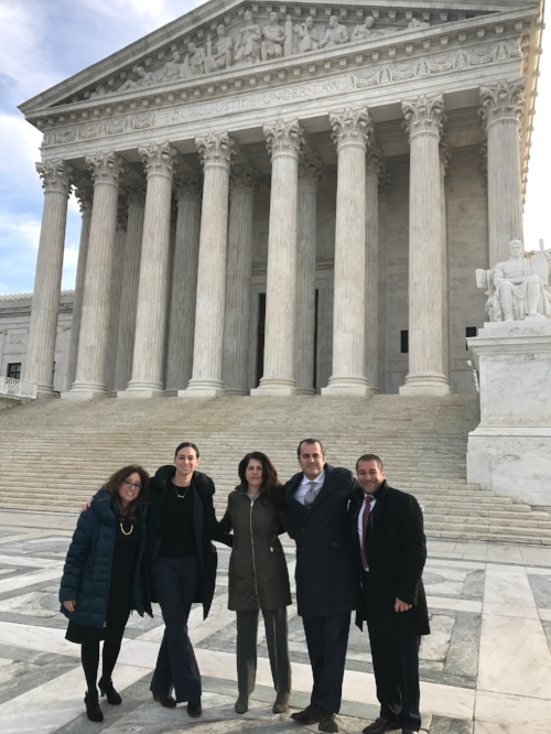 Attorneys from The Law Offices of Regina Skyer & Associates, L.L.P. traveled to Washington D.C. on Jan. 11, 2017 to hear oral arguments in Endrew v. Douglas County School District. Pictured on the steps of the U.S. Supreme Court from left to right: Linda Goldman, Abbie Smith, Diana Gersten, Jesse Cutler, and Greg Cangiano.